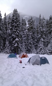 Our winter tent city. Joffre Lake Provincial Park, February, 2011.