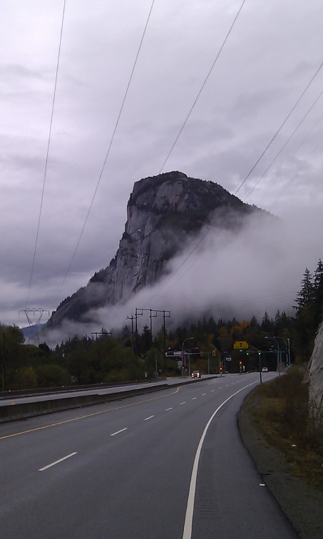 Approaching our destination: the second largest granite monolith in the world (the largest is El Capitan in Yosemite National Park). These 700 metre massive cliffs tower over the town of Squamish on B.C.'s scenic Sea to Sky Highway.