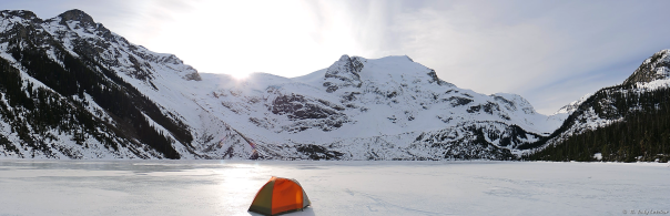 The fine art of campsite selection.....nailed it! Upper Joffre Lake, February, 2015