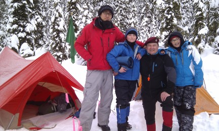 Passing snowshoers agreed to take a group photo for us. Smile!