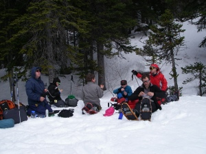 Lunch in the sun at Middle Joffre Lake.