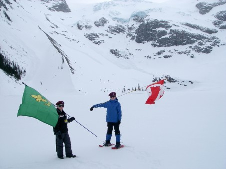 Mountaineer Scouts....THIS IS HOW WE ROLL! Who else would figure out that avalanche probes make excellent flag poles?