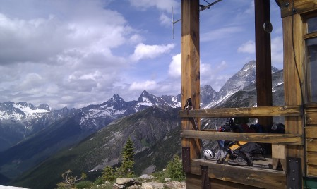 The Asulkan Hut has amazing views from its front porch high above the south end of Rogers Pass.