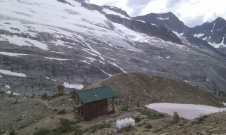 Wednesday: The ACC's cozy 12-person Asulkan Hut - our home for the night at 6,890 feet up the Asulkan Valley (a beautiful 6.5 km. hike in with a 2,790 foot elevation gain) sitting under Young's Peak (9,341 ft./2,847 m.) and surrounded by the Asulkan Glacier - with a sweeping front porch view of all of the great peaks of Rogers Pass.