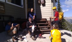 It's a glorious Friday afternoon to be sitting on the steps of the Kain Hut. The leader of our week in Rogers Pass and the Bugaboos was veteran ACC member, Rob Brusse (center - one of the six founders of MEC 40 years ago). Rob and Alan (left beside Rob) just returned from successfully summiting Pidgeon Spire (Rob's last unclimbed peak in the Bugaboos).