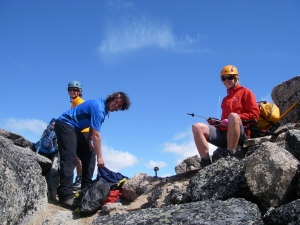 We stash our ice axes and trekking poles and start our scramble up the Spire.
