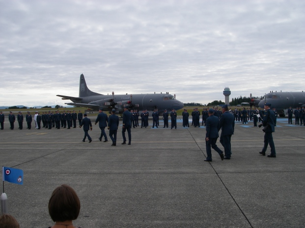 LCol Robinson and Kenny and other brass head out to inspect the Squadron before the formal change of command.