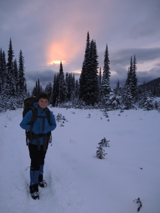 The last burst of the sun setting glows over Scout Simon as we hike back to base camp and a hot meal before another storm rolls over us Saturday night.