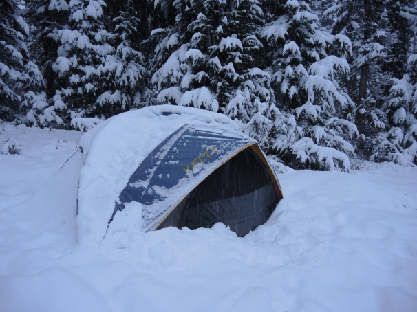 The Scouts' tent early Sunday morning after the second snow storm of the weekend deposited about four inches more fresh pow in upper Garibaldi Provincial Park.