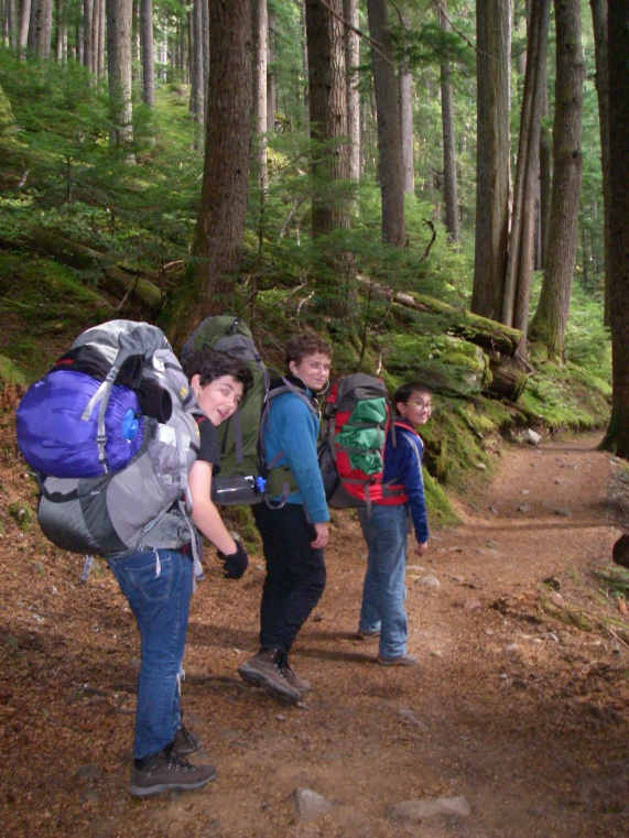 Loaded up and heading up the trail to Cheakamus Lake.