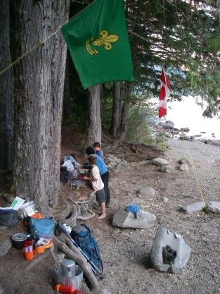 The Scouts prepare dinner.
