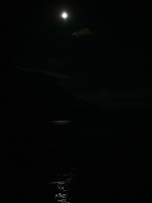 After mug up and an excellent visit with the 3rd West Van Scouts it's time for bed beside the lake under the full moon.