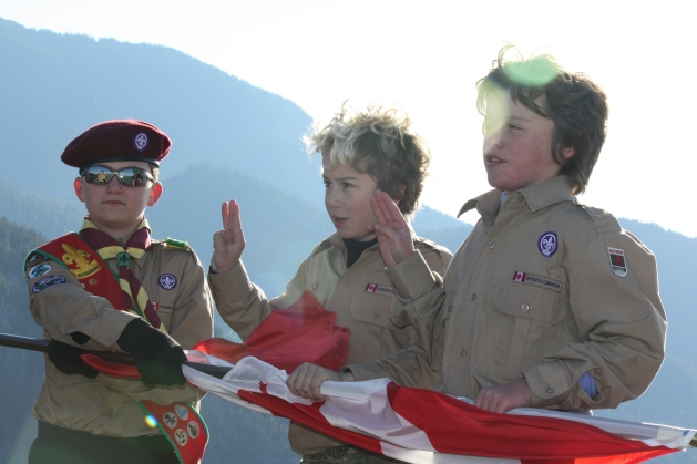 Reciting the Scout Law and Promise 2,100 feet up over Howe Sound in beautiful British Columbia.