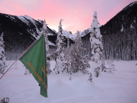 Obligatory frost covered flag on avalanche probe and sunrise shot.