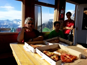 Nothing to cook tonight thanks to Red Tomato Pies of Golden, B.C.! Well earned after a hard hike up from the valley with full loads!