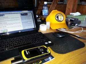 With Telus 3G service at the cabin and Goal Zero solar recharging systems, we'll be on-line all week. Our newest gizmo is our DeLorme inReach SE satellite tracking and communications device!