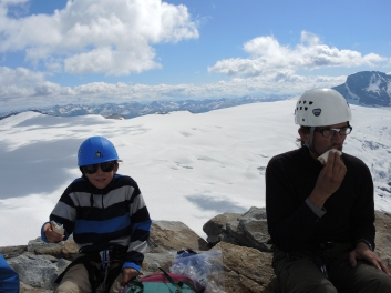 Ben (left) celebrated his 12th birthday on the summit.
