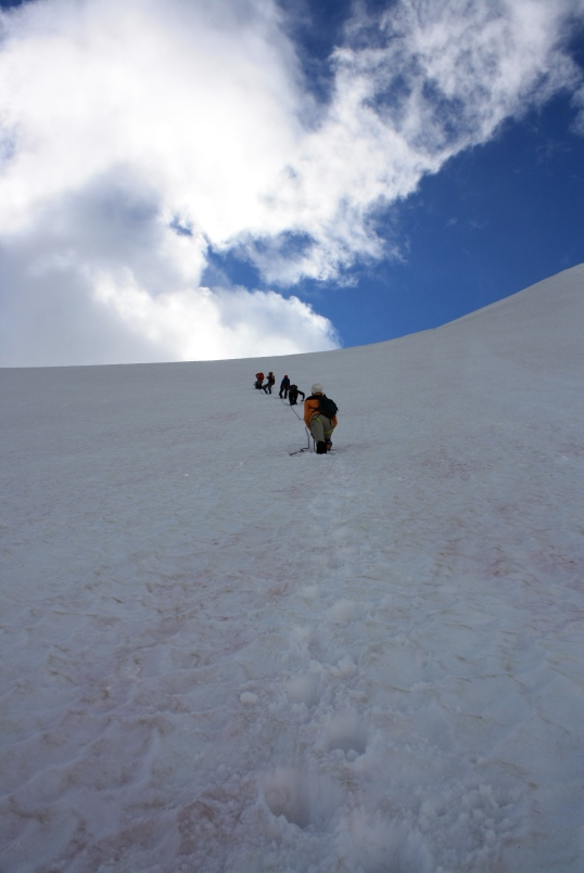 This photo by Jason Gadd better captures the steepness of the headwall.
