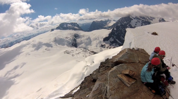 A screengrab from a GoPro video taken on the summit by Meredith Faulkner.