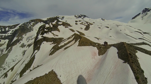 The Asulkan Hut as seen by a GoPro video camera mounted to the front of the helicopter.