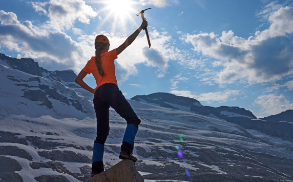 15 year-old Mountaineer Scout Randi showing her stoke during the 2015 Mountaineering Camp: Rogers Pass.