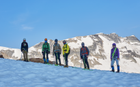 Rope Team One enroute to the summit of Youngs Peak (9235'/2815m) in the early morning during the 2015 Mountaineering Camp: Rogers Pass.
