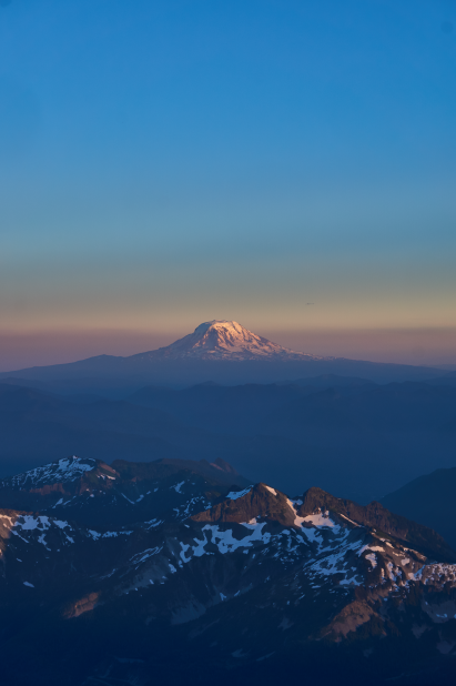 Mt. Adams (12,281'/3,743m) as seen from Rainier as the sun sets over the Pacific Northwest.